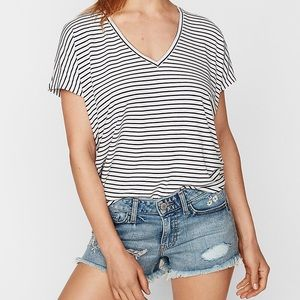 Express one eleven v-neck striped tee